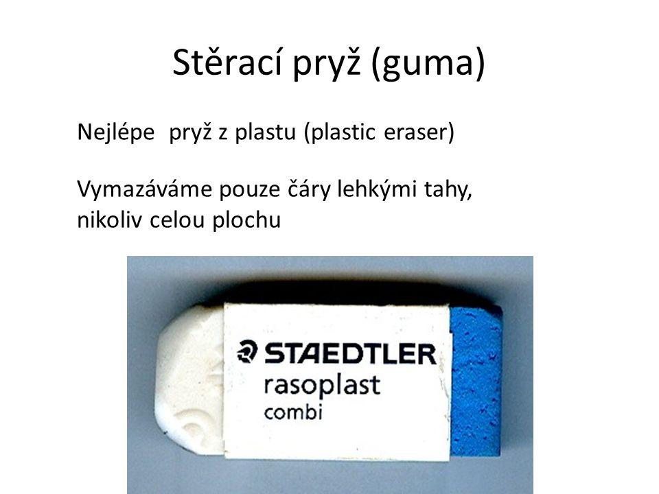 Stěrací pryž (guma) Nejlépe pryž z plastu (plastic eraser)