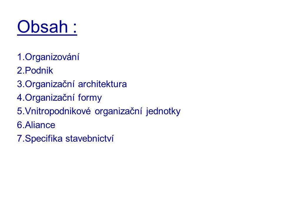 Obsah : 1.Organizování 2.Podnik 3.Organizační architektura
