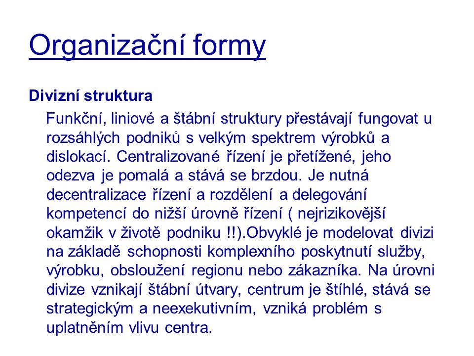 Organizační formy Divizní struktura