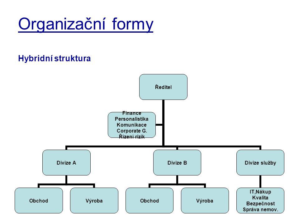 Organizační formy Hybridní struktura