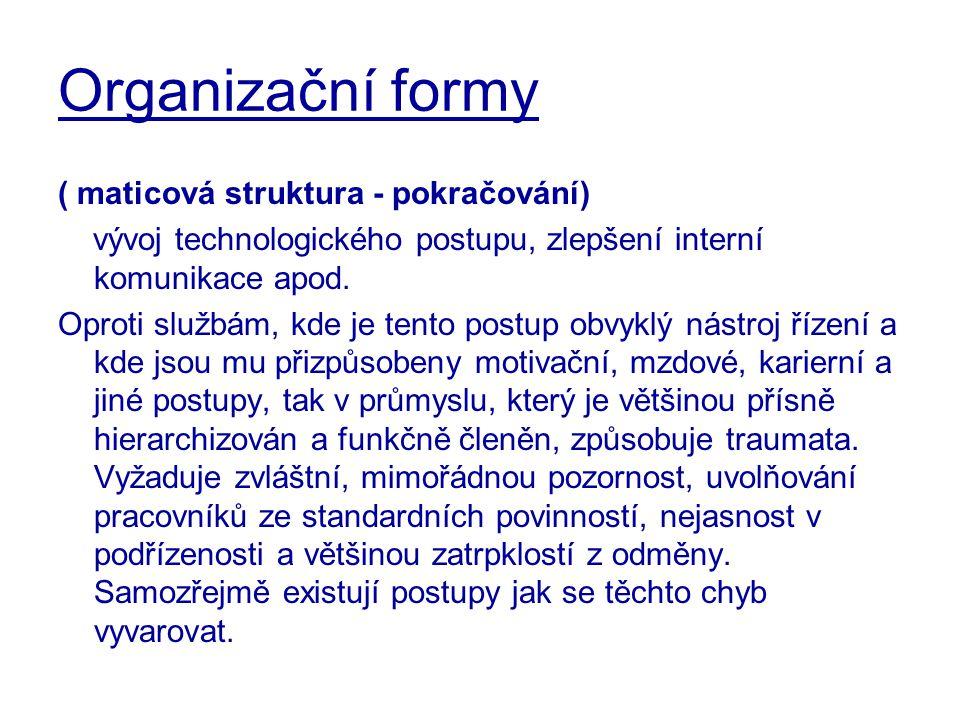 Organizační formy ( maticová struktura - pokračování)