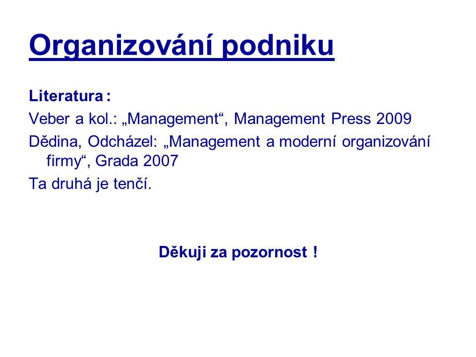 Organizování podniku Literatura :
