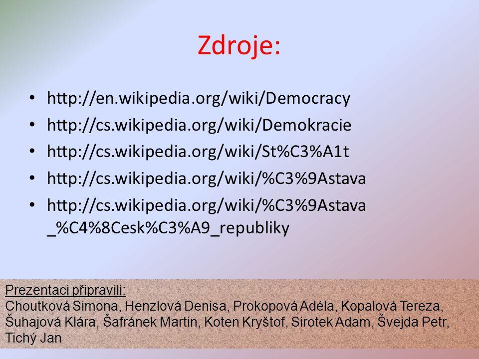 Zdroje: http://en.wikipedia.org/wiki/Democracy