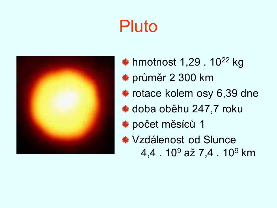 Pluto hmotnost 1,29 . 1022 kg průměr 2 300 km