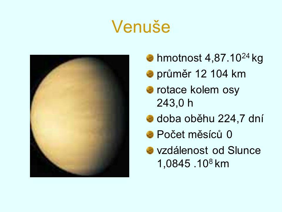 Venuše hmotnost 4,87.1024 kg průměr 12 104 km rotace kolem osy 243,0 h