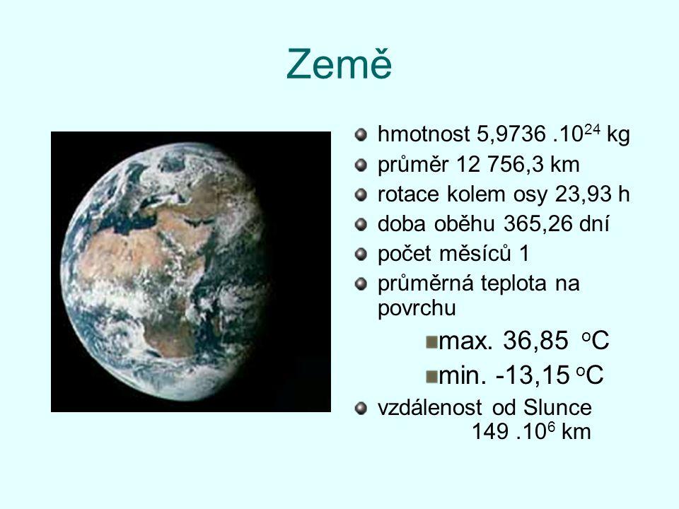 Země max. 36,85 oC min. -13,15 oC hmotnost 5,9736 .1024 kg