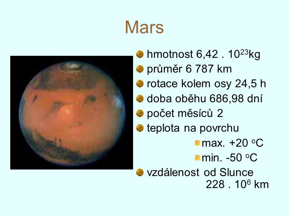 Mars hmotnost 6,42 . 1023kg průměr 6 787 km rotace kolem osy 24,5 h