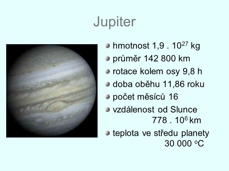 Jupiter hmotnost 1,9 . 1027 kg průměr 142 800 km