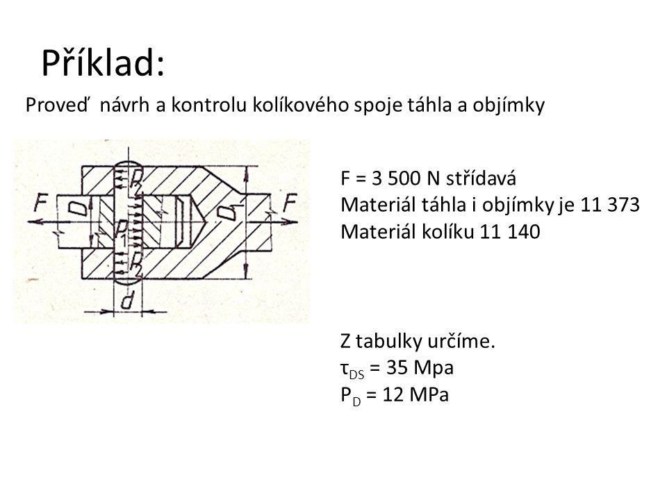 Příklad: Proveď návrh a kontrolu kolíkového spoje táhla a objímky