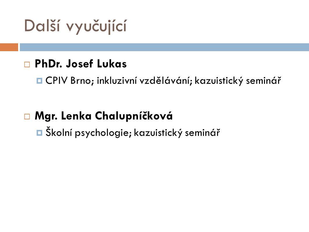 Další vyučující PhDr. Josef Lukas Mgr. Lenka Chalupníčková
