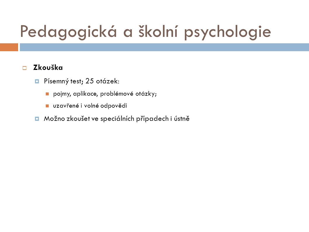 Pedagogická a školní psychologie