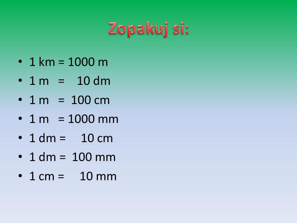 Zopakuj si: 1 km = 1000 m 1 m = 10 dm 1 m = 100 cm 1 m = 1000 mm