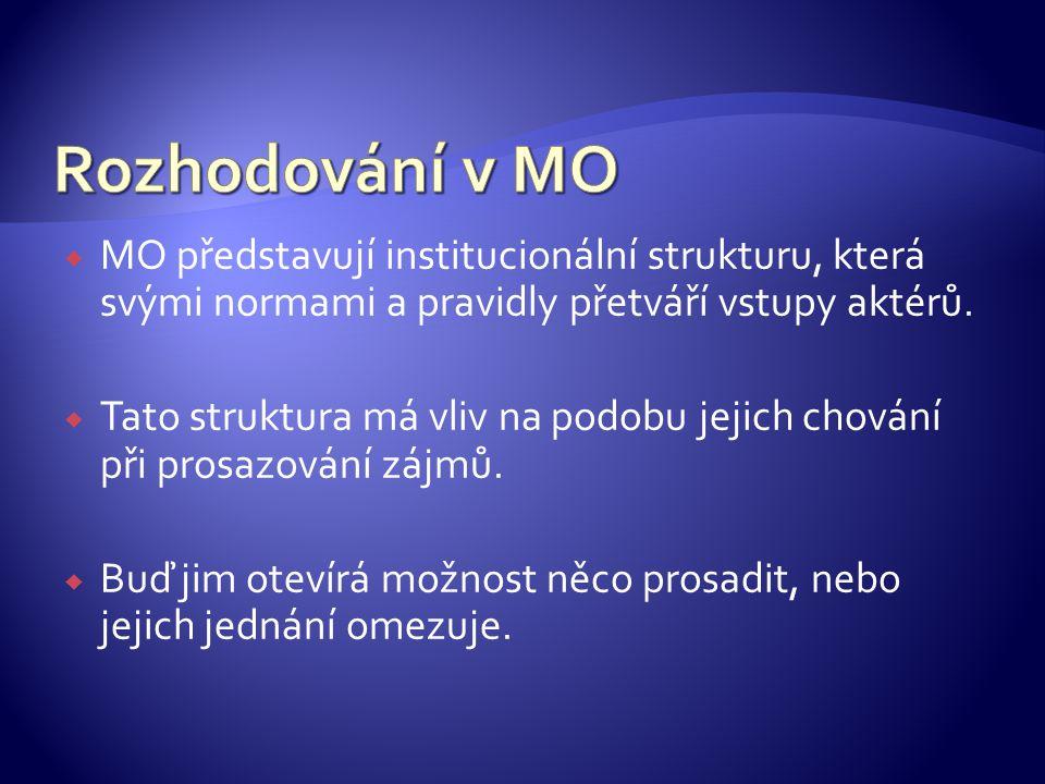 Rozhodování v MO MO představují institucionální strukturu, která svými normami a pravidly přetváří vstupy aktérů.