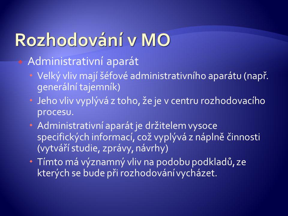 Rozhodování v MO Administrativní aparát