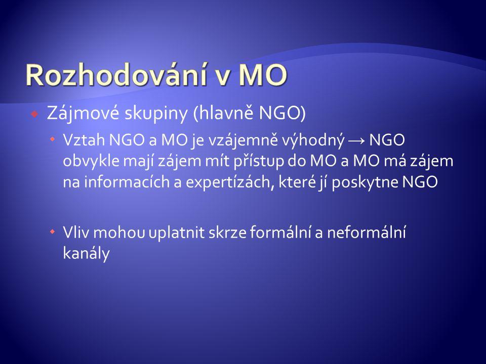 Rozhodování v MO Zájmové skupiny (hlavně NGO)