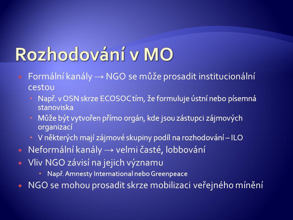 Rozhodování v MO Formální kanály → NGO se může prosadit institucionální cestou.