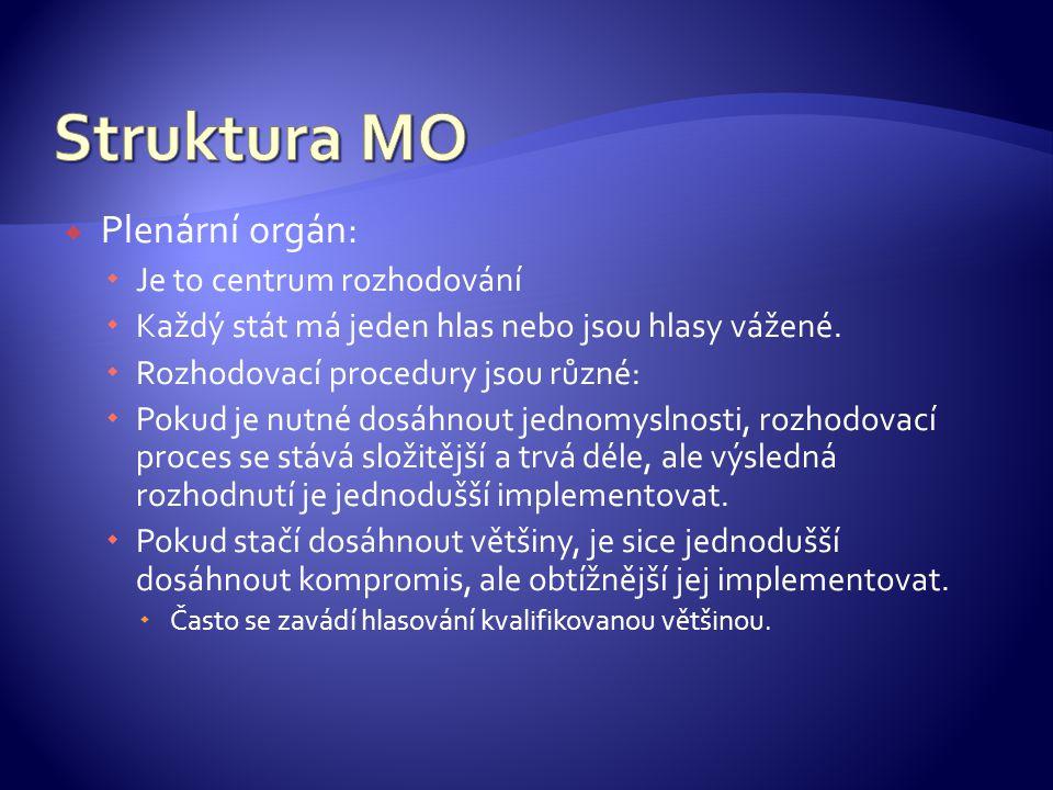 Struktura MO Plenární orgán: Je to centrum rozhodování