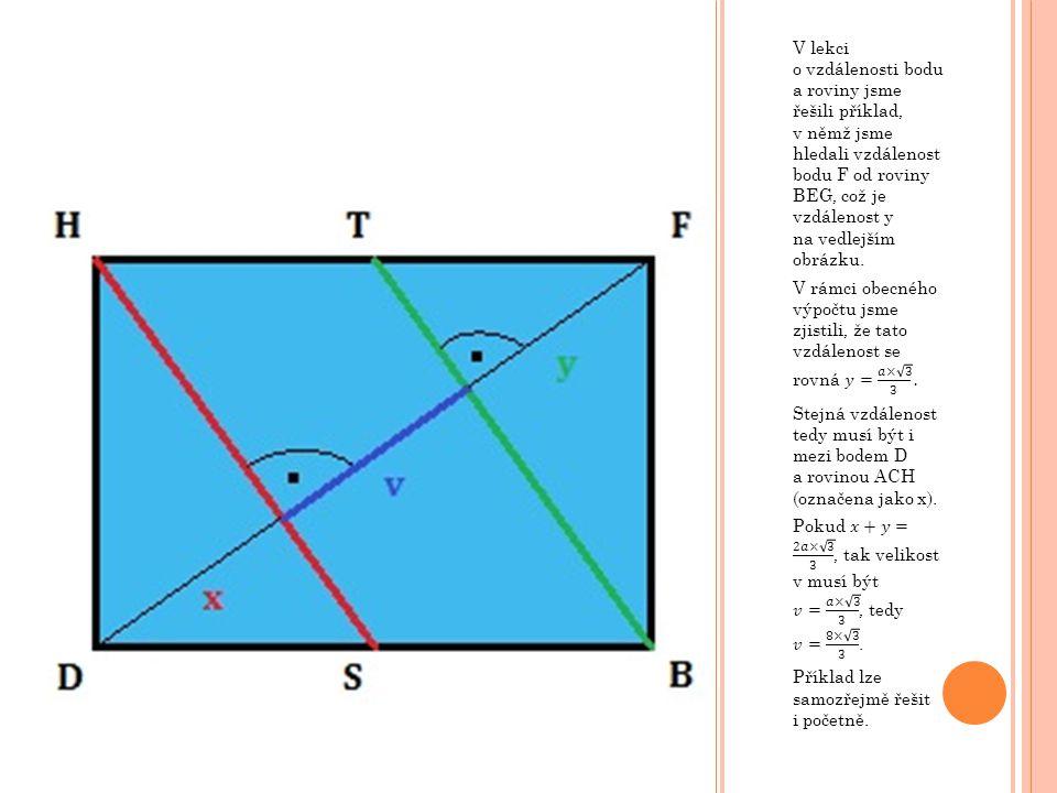 V lekci o vzdálenosti bodu a roviny jsme řešili příklad, v němž jsme hledali vzdálenost bodu F od roviny BEG, což je vzdálenost y na vedlejším obrázku.