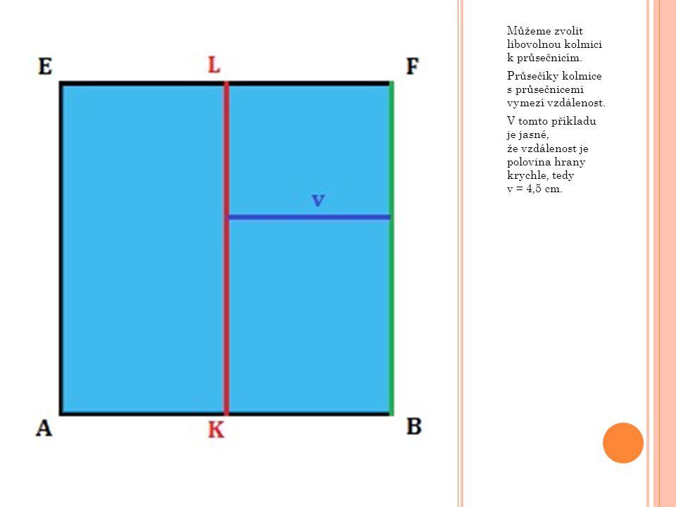 Můžeme zvolit libovolnou kolmici k průsečnicím.