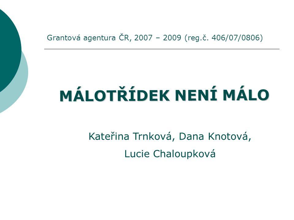 MÁLOTŘÍDEK NENÍ MÁLO Kateřina Trnková, Dana Knotová, Lucie Chaloupková