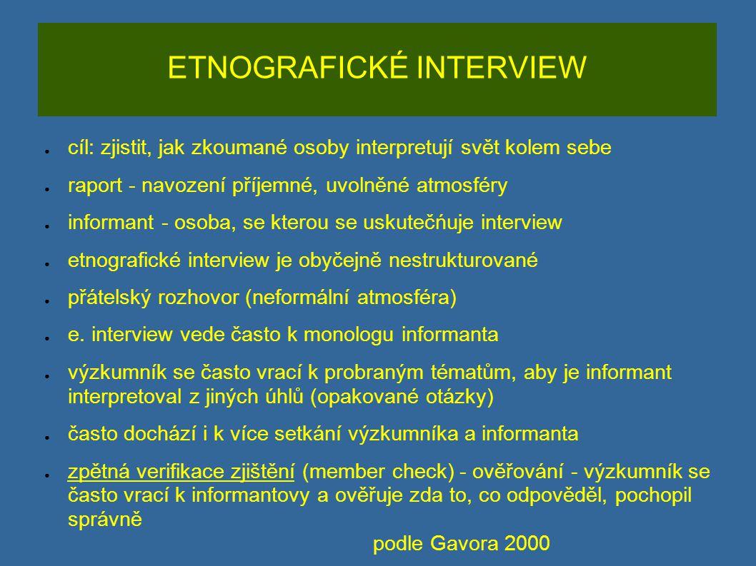 ETNOGRAFICKÉ INTERVIEW