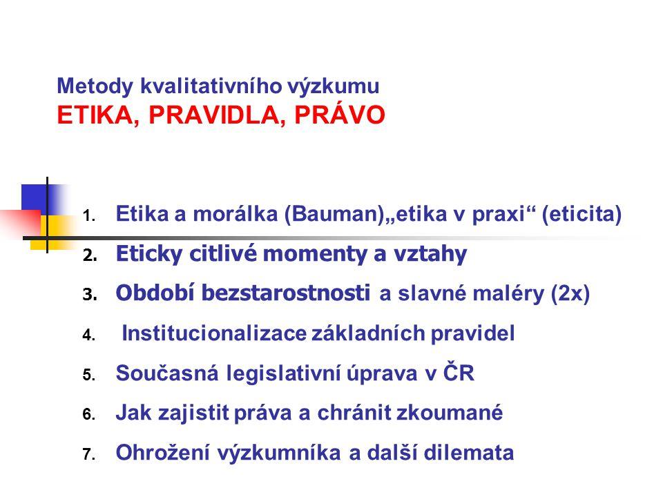 Metody kvalitativního výzkumu ETIKA, PRAVIDLA, PRÁVO