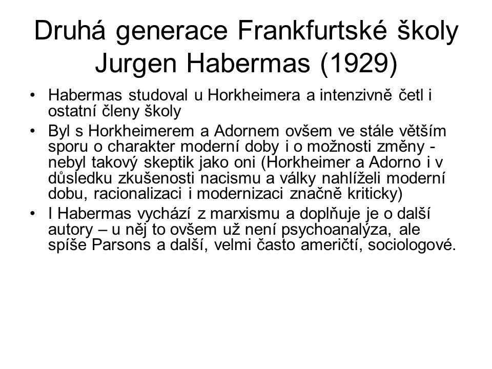 Druhá generace Frankfurtské školy Jurgen Habermas (1929)