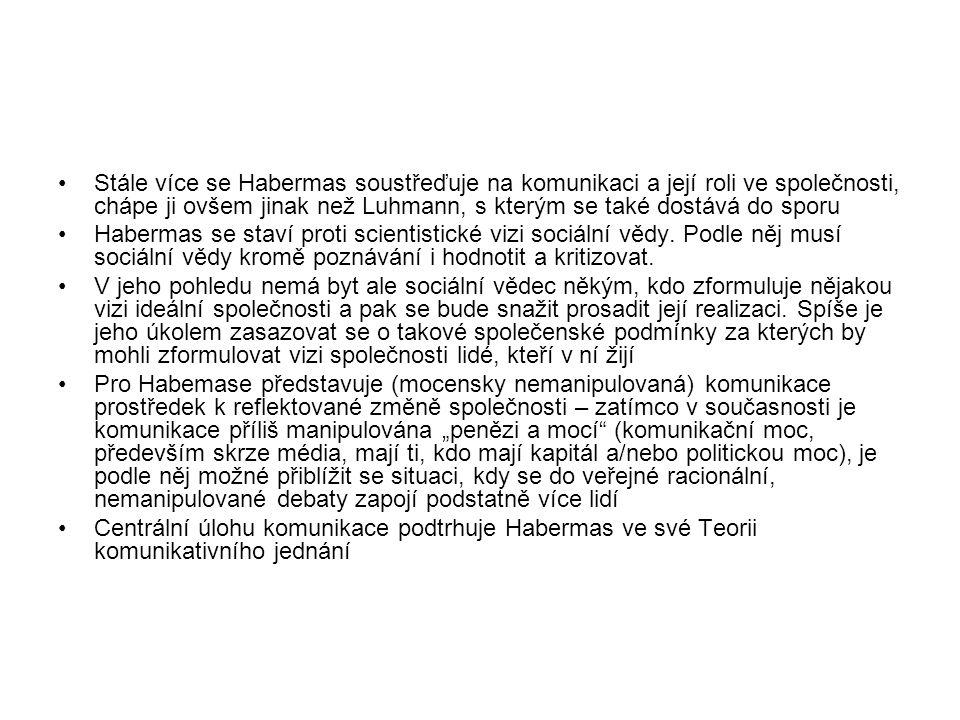 Stále více se Habermas soustřeďuje na komunikaci a její roli ve společnosti, chápe ji ovšem jinak než Luhmann, s kterým se také dostává do sporu