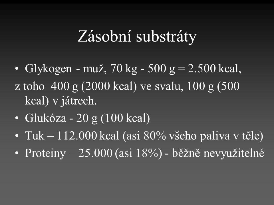 Zásobní substráty Glykogen - muž, 70 kg - 500 g = 2.500 kcal,