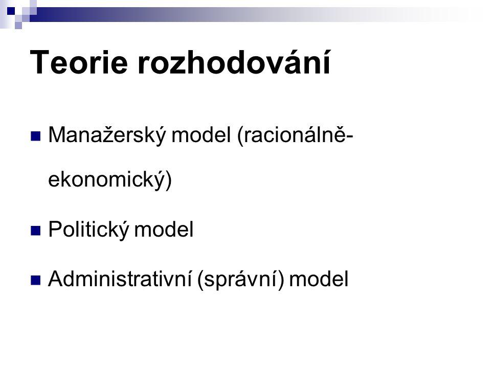 Teorie rozhodování Manažerský model (racionálně-ekonomický)