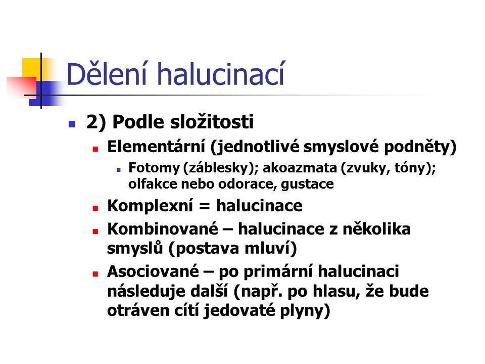 Dělení halucinací 2) Podle složitosti