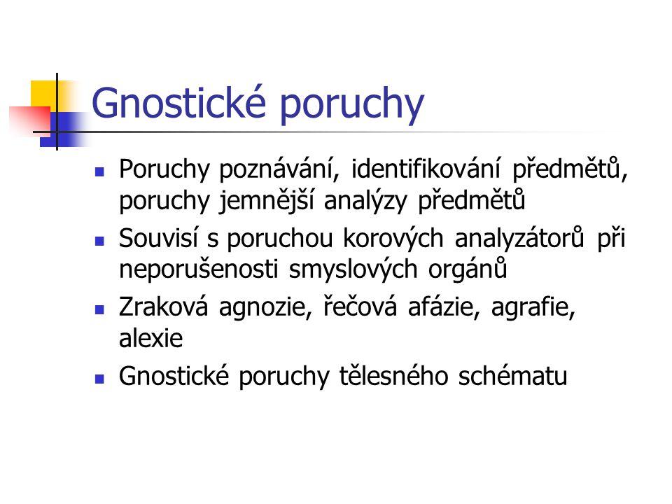 Gnostické poruchy Poruchy poznávání, identifikování předmětů, poruchy jemnější analýzy předmětů.