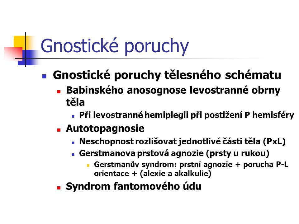 Gnostické poruchy Gnostické poruchy tělesného schématu