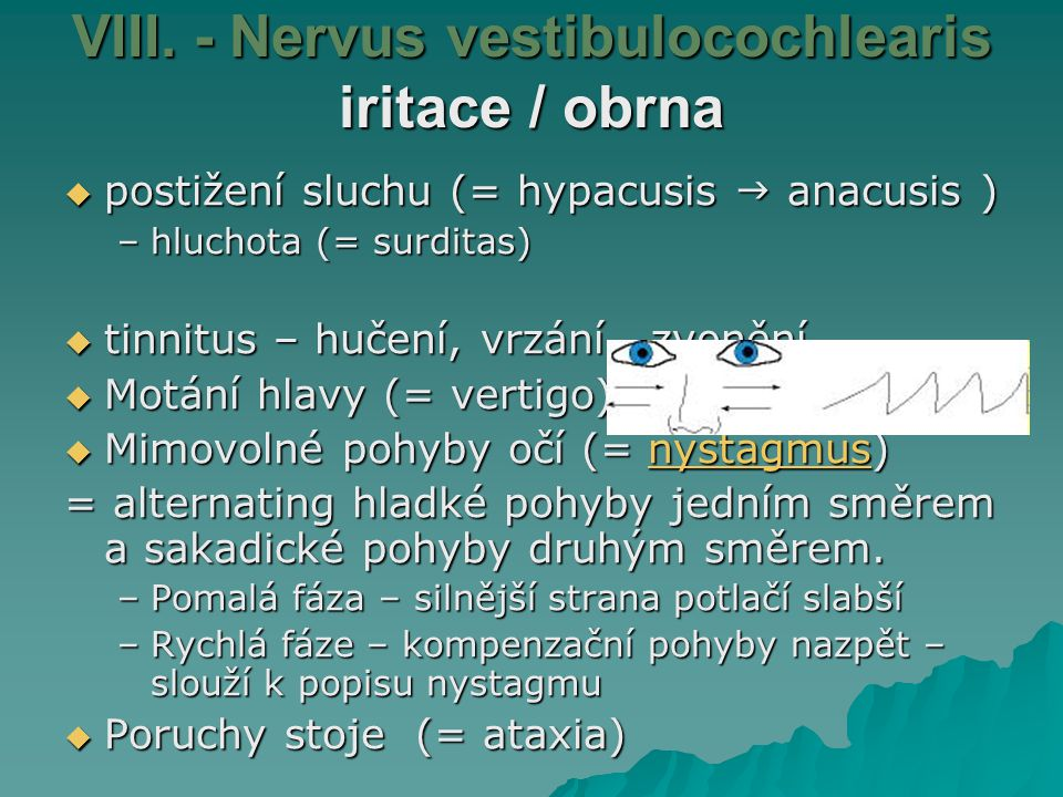 VIII. - Nervus vestibulocochlearis iritace / obrna