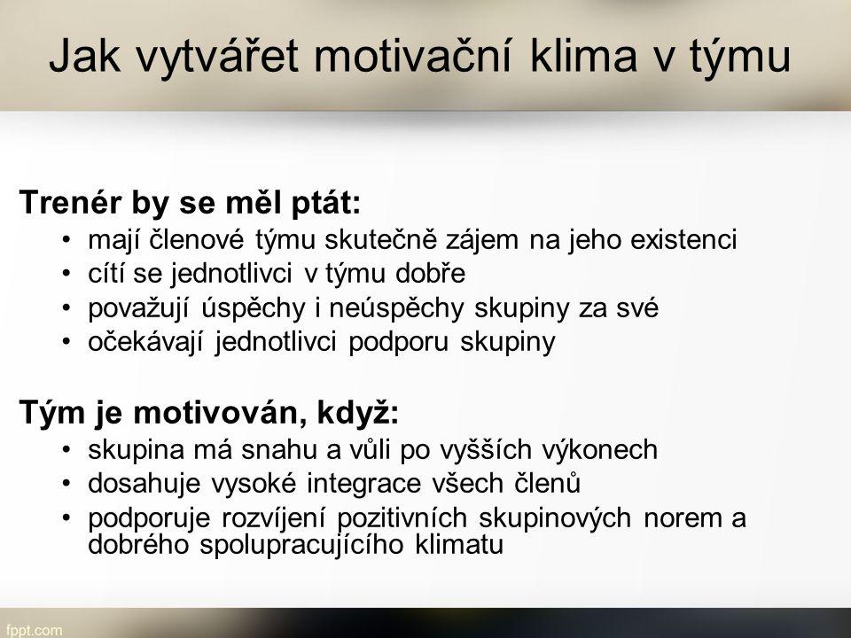 Jak vytvářet motivační klima v týmu