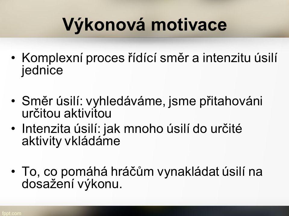 Výkonová motivace Komplexní proces řídící směr a intenzitu úsilí jednice. Směr úsilí: vyhledáváme, jsme přitahováni určitou aktivitou.