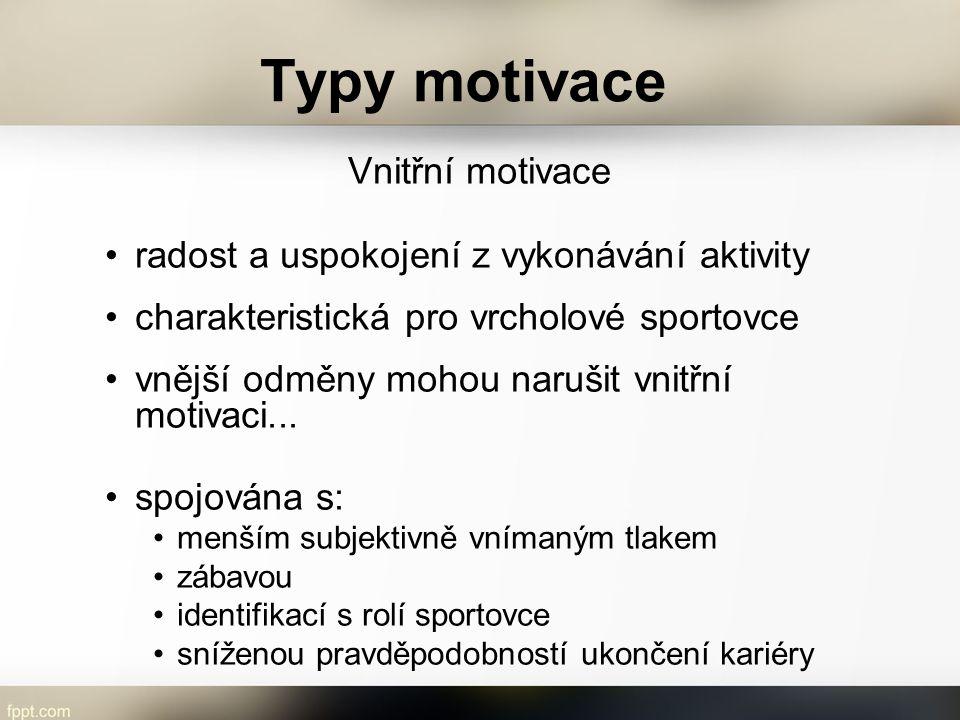 Typy motivace Vnitřní motivace