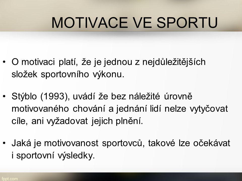 MOTIVACE VE SPORTU O motivaci platí, že je jednou z nejdůležitějších složek sportovního výkonu.