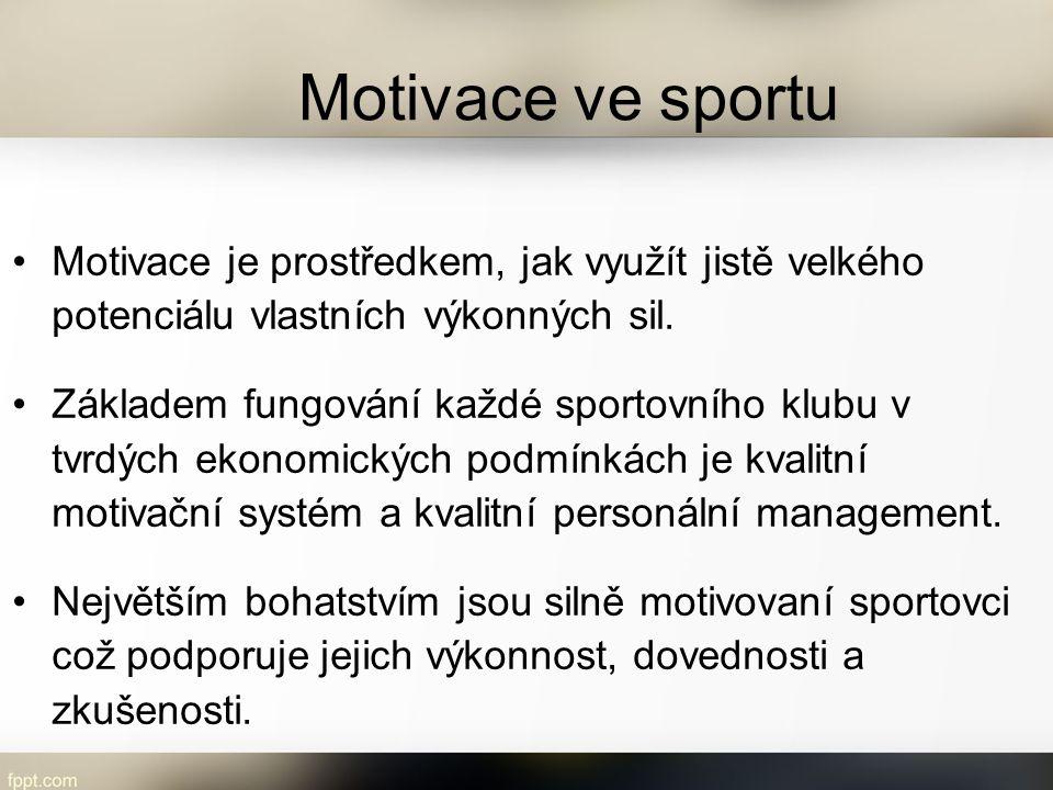 Motivace ve sportu Motivace je prostředkem, jak využít jistě velkého potenciálu vlastních výkonných sil.