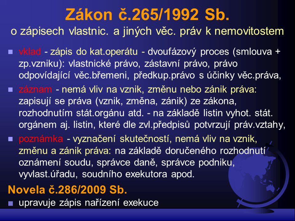 Zákon č. 265/1992 Sb. o zápisech vlastnic. a jiných věc