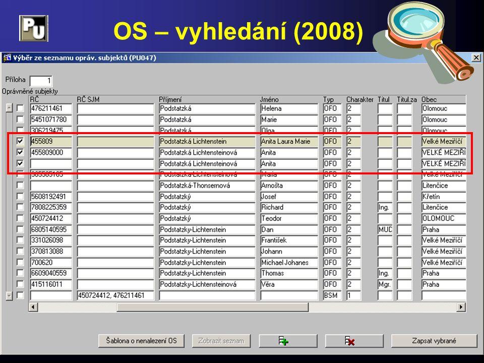 OS – vyhledání (2008)