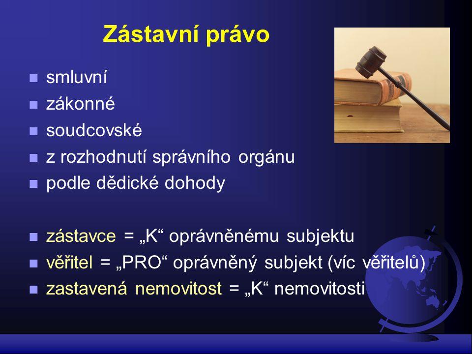 Zástavní právo smluvní zákonné soudcovské