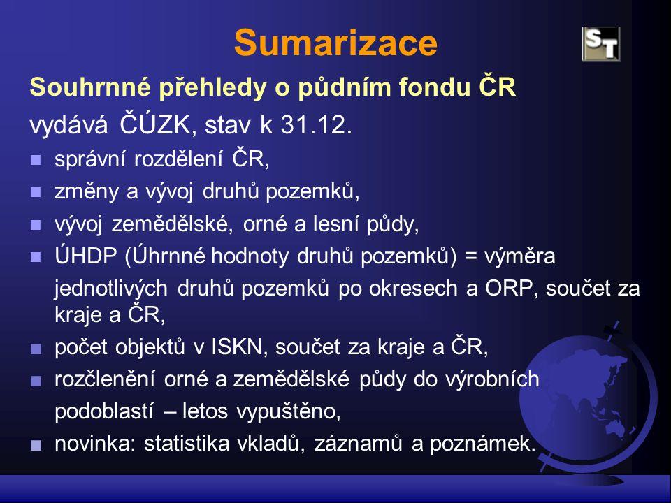 Sumarizace Souhrnné přehledy o půdním fondu ČR