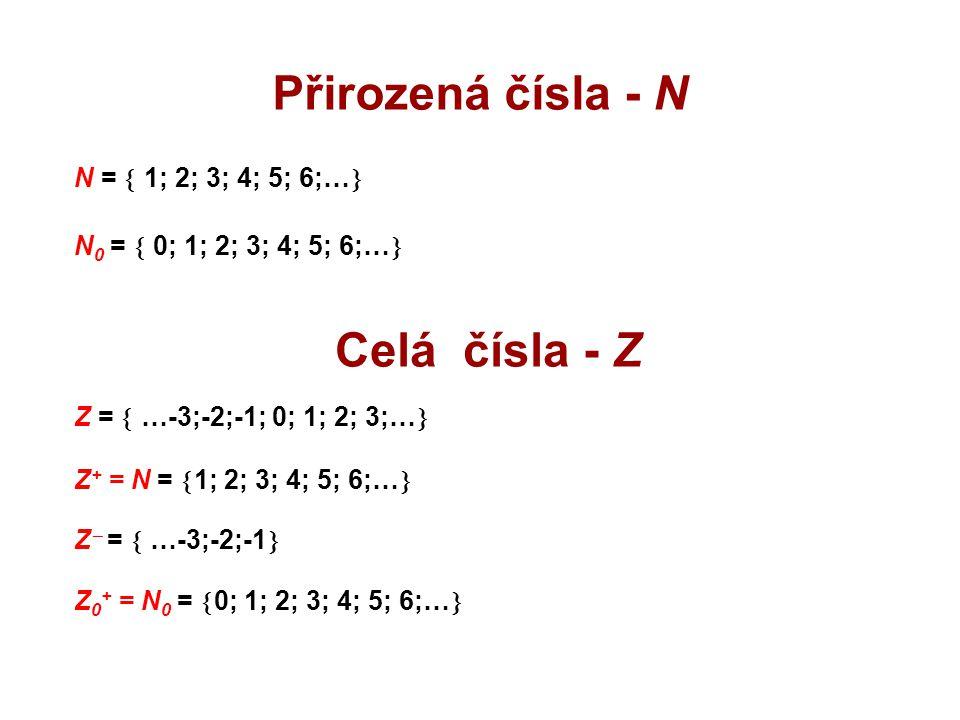 Přirozená čísla - N Celá čísla - Z