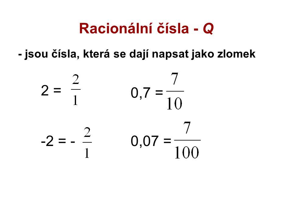 Racionální čísla - Q 2 = 0,7 = -2 = - 0,07 =