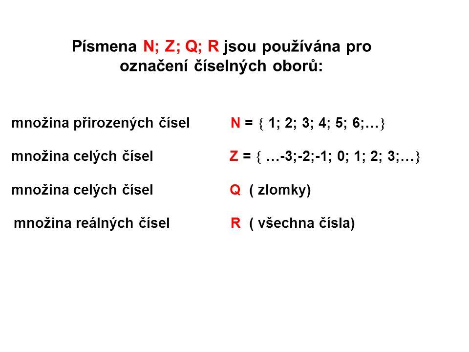 Písmena N; Z; Q; R jsou používána pro označení číselných oborů: