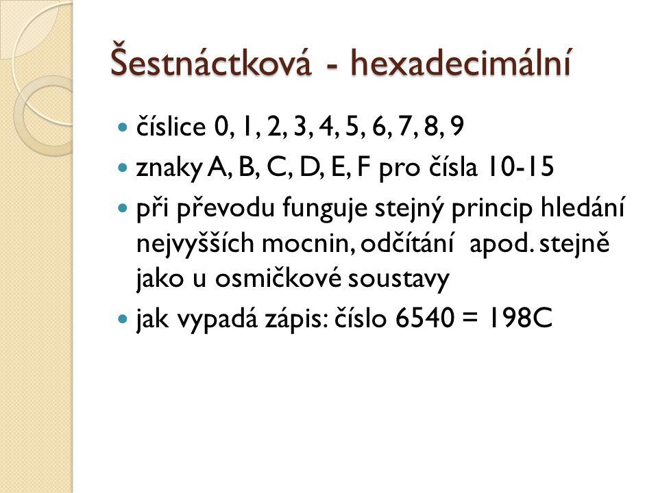 Šestnáctková - hexadecimální