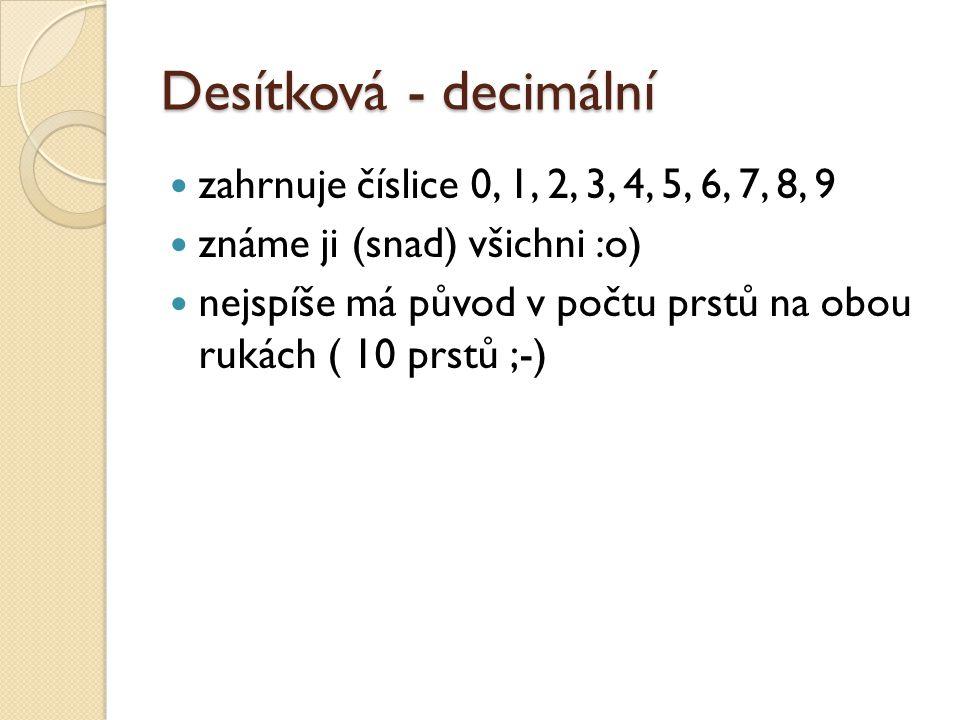 Desítková - decimální zahrnuje číslice 0, 1, 2, 3, 4, 5, 6, 7, 8, 9
