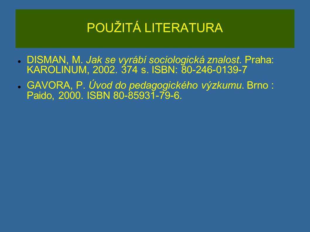 POUŽITÁ LITERATURA DISMAN, M. Jak se vyrábí sociologická znalost. Praha: KAROLINUM, 2002. 374 s. ISBN: 80-246-0139-7.