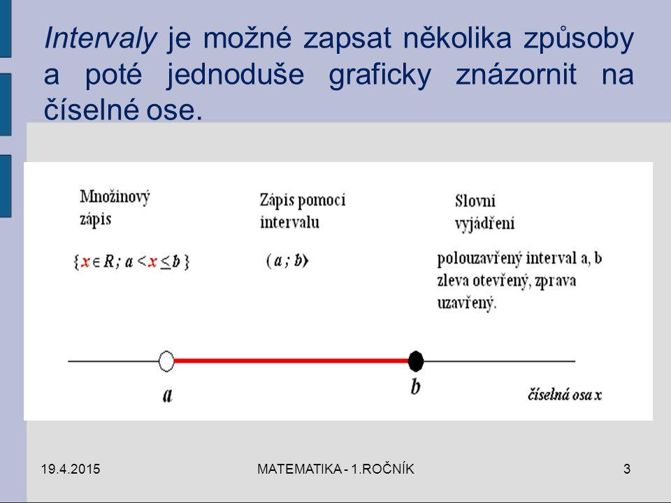 Intervaly je možné zapsat několika způsoby a poté jednoduše graficky znázornit na číselné ose.
